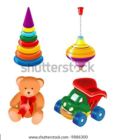 toys kid teddy bear car vector cartoon child icon
