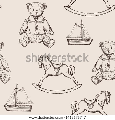 Toys pattern with hand drawn bears, ships and horses in vintage style. Perfect for kids textiles, wallpaper and prints. Photo stock ©