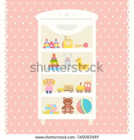 toys shelf with teddy bear