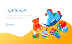 Toys shop - modern colorful isometric web banner with copy space for text. Activities for children, leisure, hobby concept. Illustration with objects, abc block, teddy bear, spinning top, horse, train