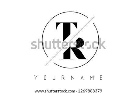 TR Letter Logo with Cutted and Intersected Design and Round Frame Vector Illustration Stock fotó ©