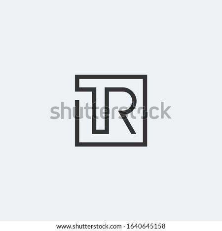TR letter monogram linear logo in square shape. Stock fotó ©