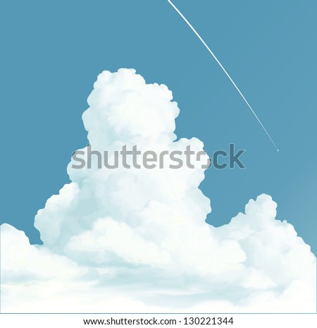 trace of the plane in blue sky