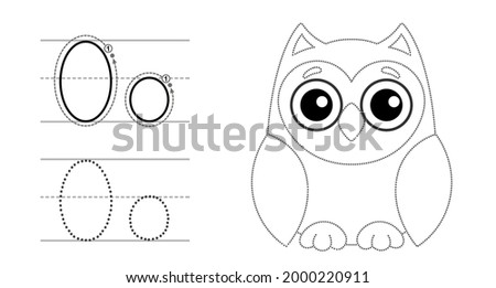 Trace the letter and picture and color it. Educational children tracing game. Coloring alphabet. Letter O and funny cartoon Owl Foto stock ©