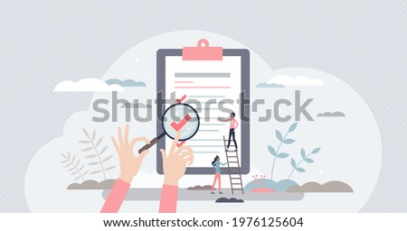 Traceability and product quality control with tracking tiny person concept. Source supply chain logistics verification and monitoring ability for ethical and transparent business vector illustration. ストックフォト ©