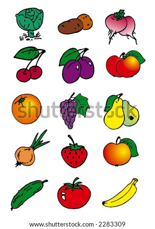 stock vector : traced cartoon illustrations of fruits and vegetables for