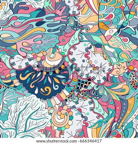Shutterstock Tracery seamless pattern. Mehndi design. Ethnic colorful doodle texture. Curved doodling background. Vector