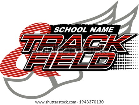 track and field team design with track foot for school, college or league Stockfoto ©