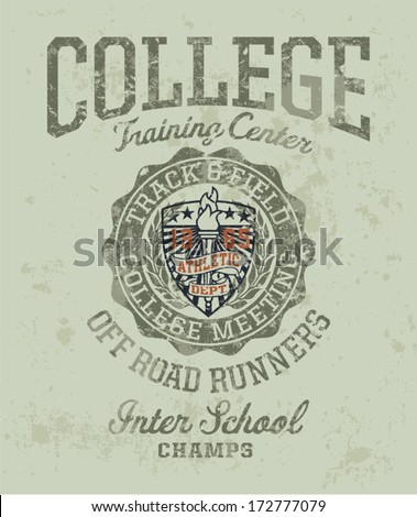 Track & field college meeting Vintage athletic artwork for boy sportswear in custom colors