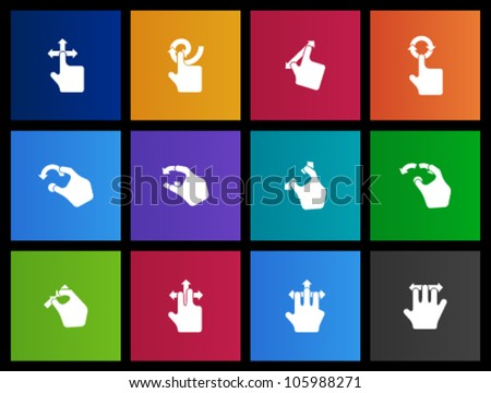 Track pad gesture  icon series in Metro style