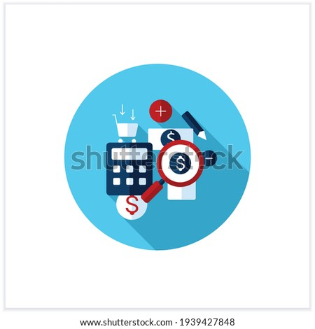 Track spending flat icon. Money spent calculations. Keep accounts track. Thoughtful spending money. Mindful spending concept.Vector illustration Photo stock ©