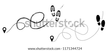 Tracking track footprints human shoes shoe sole funny feet footsteps paws people silhouette follow vector hiking route steps sign foot Walks Walking  banner health footmark fun navigation gps Trekking
