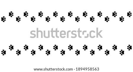 Tracks of cat or dog tracks, footprint, design. Footprints of cat, turn right and left. Vector illustration.