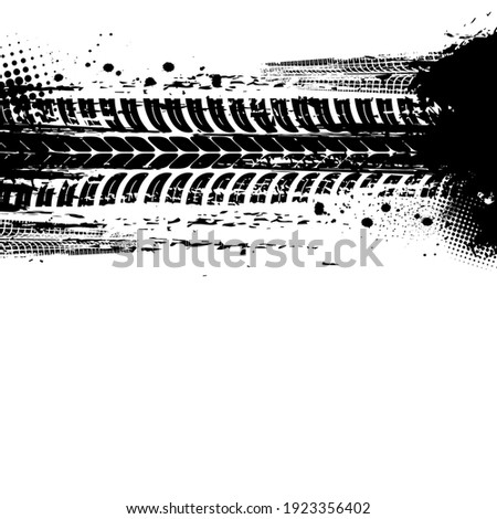 Tracks of tyre, tire print traces and bike drift treads, vector dirt wheels background. Car races, motorcycle or tractor truck tracks with halftone grunge,pattern, bicycle dirty marks on road mud Stockfoto ©