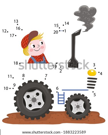 Tractor. Dot to Dot. Connect the dots from 1 to 20. Game for kids. Vector illustration.