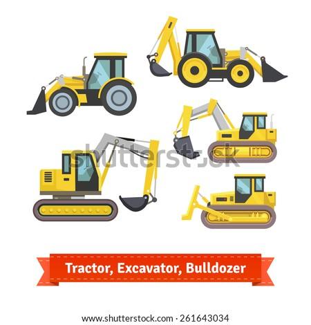 tractor  excavator  bulldozer