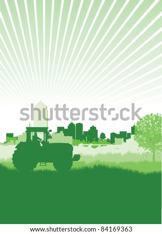 tractor in a field in front of a cityscape - stock vector