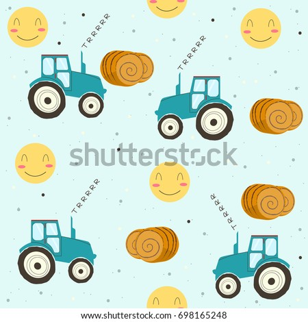 tractor in the field seamless