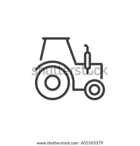 Tractor line icon, outline vector sign, linear style pictogram isolated on white. Symbol, logo illustration. Editable stroke. Pixel perfect