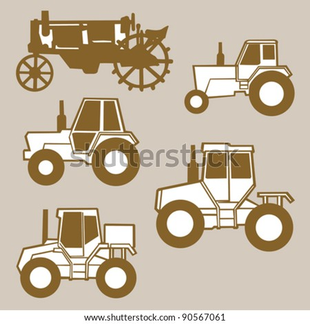 tractor silhouette on brown background, vector illustration - stock vector