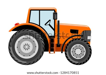 Tractor vehicle vector illustration. Side view of modern farm tractor