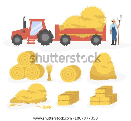 Tractor with hay cartoon illustration. Vector set of hay icons set isolated on white background. Straw, haystack and hayloft Сток-фото ©