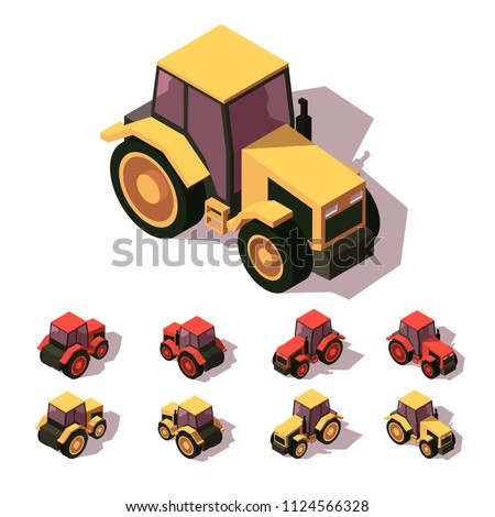 Tractors isometric icon set. Two colors. Isometric 3d vector illustration. Isolate background.