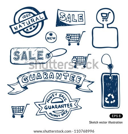 Trade banners and other elements. Hand drawn sketch illustration isolated on white background