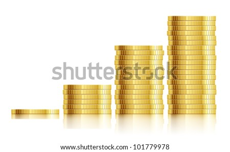 trade diagram with golden coins money vector illustration EPS10. Transparent objects and opacity masks used for shadows and lights drawing