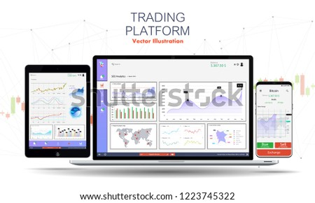 Trade exchange app on phone screen,laptop and tablet. Trading platform web site template. Binary Option. Mobile banking cryptocurrency ui. Online stock trading interface vector. Dashboard UI/UX app