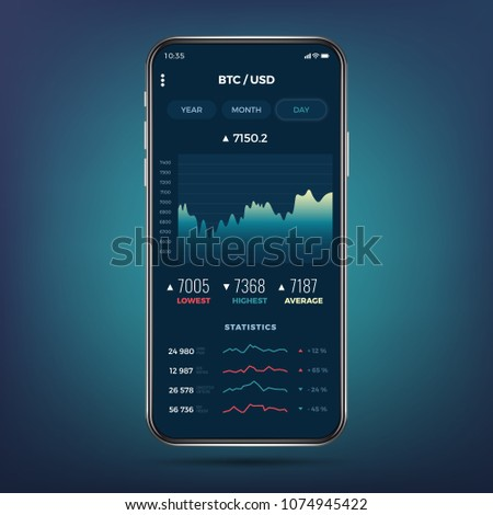 Trade exchange app on phone screen. Mobile banking cryptocurrency ui. Online stock trading interface vector eps 10. Illustration of mobile banking crypto currency, bitcoin and dollar