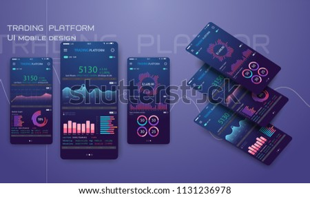 Trade exchange app on phone screen. Mobile banking cryptocurrency ui. Online stock trading interface vector . Illustration of mobile banking crypto currency, bitcoin and dollar