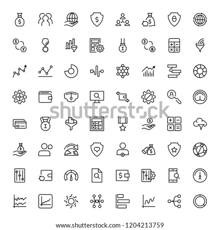 Trade flat icon set. Single high quality outline symbol of info for web design or mobile app. Thin line signs for design logo, visit card, etc. Outline logo of trade #1204213759