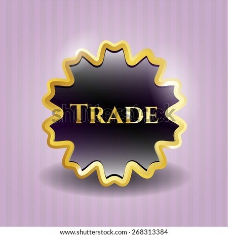 Trade gold shiny badge with pink background