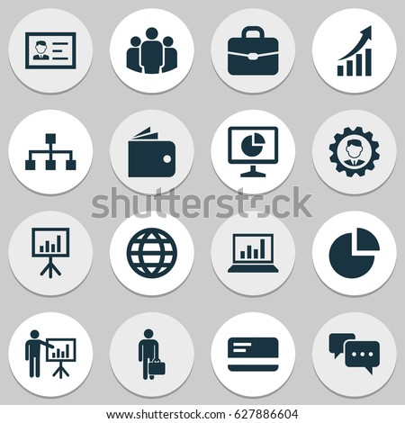 Trade Icons Set. Collection Of Group, Suitcase, Diagram And Other Elements. Also Includes Symbols Such As Chatting, Team, Global.