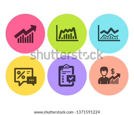 Trade infochart, Checklist and Demand curve icons simple set. Discounts, Infographic graph and Business growth signs. Business analysis, Survey. Finance set. Flat trade infochart icon. Circle button