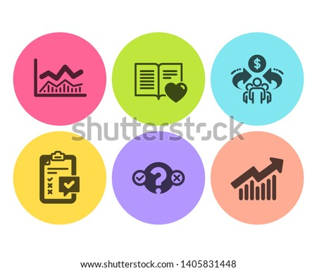 Trade infochart, Quiz test and Sharing economy icons simple set. Love book, Checklist and Demand curve signs. Business analysis, Select answer. Education set. Flat trade infochart icon. Circle button