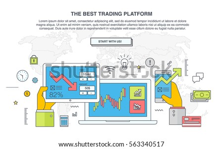 Trade market. Binary option. Set web flat Infographic elements, diagrams, map, line icon, hand with phone, tablet, laptop. Abstract virtual graphic. HUD UI for business app. Futuristic user interface.