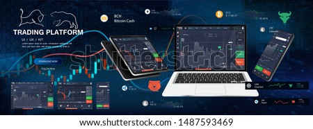 Trade Platform App Screens, UI design smartphone, tablet, notebook. Forex market, stock platform, binary option. Application screen for trading. Candles and indicators. Cryptocurrency and finance.