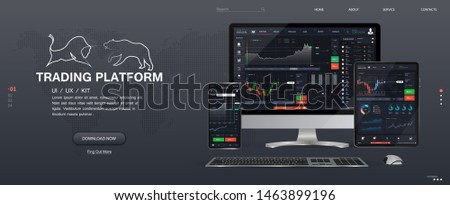 Trade platform UI design. Web Site Screen template. The concept of a universal application with cryptocurrency and finance (Binary option, forex market) App for online trading ,tablet, smartphone, pc.