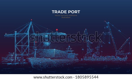 Trade port low poly wireframe banner template. Digital vector cargo ship, container, crane and warehouse in dark blue. Container ships, transportation, logistics, business, worldwide shipping concept