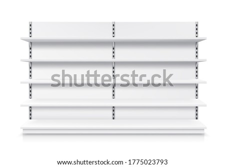 Trade shelf, shop rack, isolated realistic store display and product showcase stand, vector mockup. Supermarket display stand or warehouse shelving racks with detachable shelves, 3D white metal model