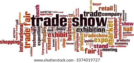 Trade show word cloud concept. Vector illustration