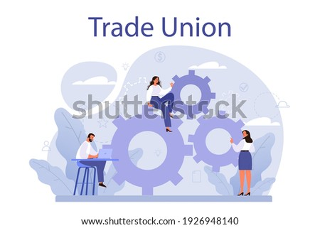 Trade union concept. Employees care idea. Employees wellbeing or intersets regulation and protection. Corporate insurance, career development, benefits package. Isolated flat vector illustration