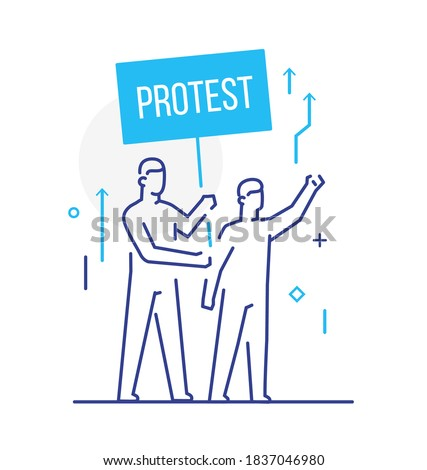 trade union, worker protests. Activist, policy, volunteer, protest. Flat illustration Icons infographics. Landing page site print poster Сток-фото ©