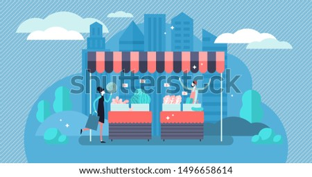 Trade vector illustration. Flat tiny local self employed store persons concept. Niche domestic grocery shop in market tent. Small business with commerce profit and earnings from product sell service. Photo stock ©