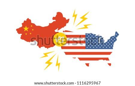 trade war, America China tariff business global exchange international. USA versus China. vector illustration