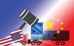 Trade war . United states of america Versus China . United States of America versus China trade war disputes concept.of global business Concept. vector illustration
