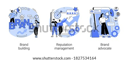 Trademark public relations abstract concept vector illustration set. Brand building, reputation management, brand advocate, marketing strategy, social media, corporate ID, awareness abstract metaphor.