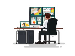 Trader at a desk. Vector illustration of a flat design